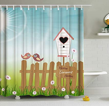 ShineSnow Home Sweet Bird Birdhouse Valentines Day Romantic Love Shower Curtain Set 60 X 72