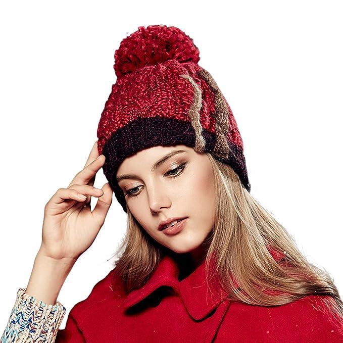 a24de464b12 Kenmont Autumn Winter Warm Women Girl Lady Wool Hand Knit Beanie Hat Ski Cap  (Wine