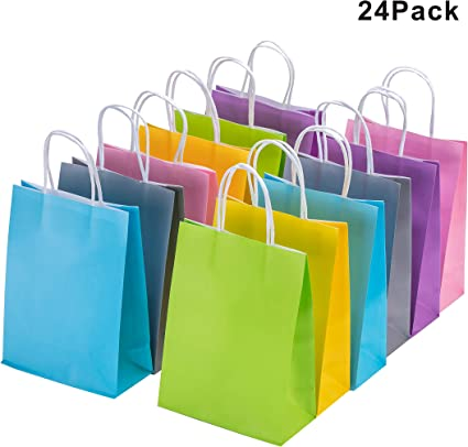 Amazon.com: Bolsas de papel kraft de colores con asas, 24 ...