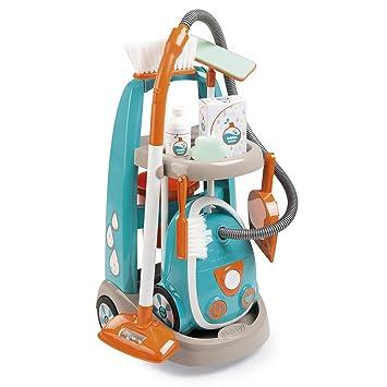 Smoby Carrito de Limpieza con Aspirador y Accesorios 330309, Color Azul y Naranja (