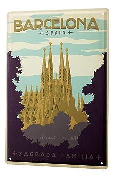 Cartel de chapa Placa metal tin sign Deco Ciudad España Barcelona Sagrada Familia 20X30 cm