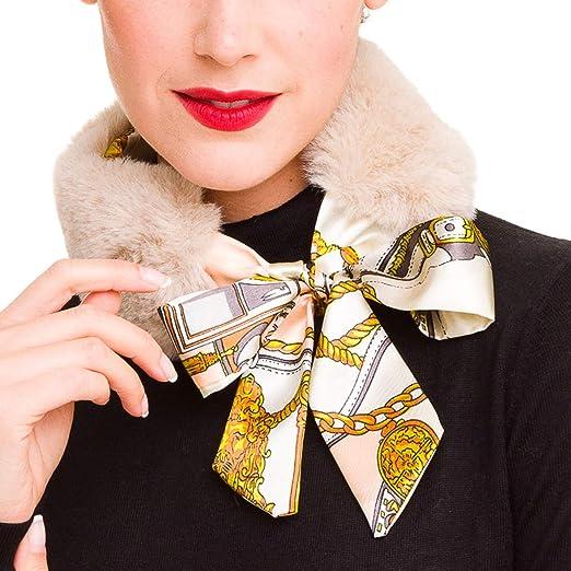 506de8ed09882 Fur Collar Scarf for Women Faux Fur Scarves Neck Shrug for Winter Coat  Dress (Beige