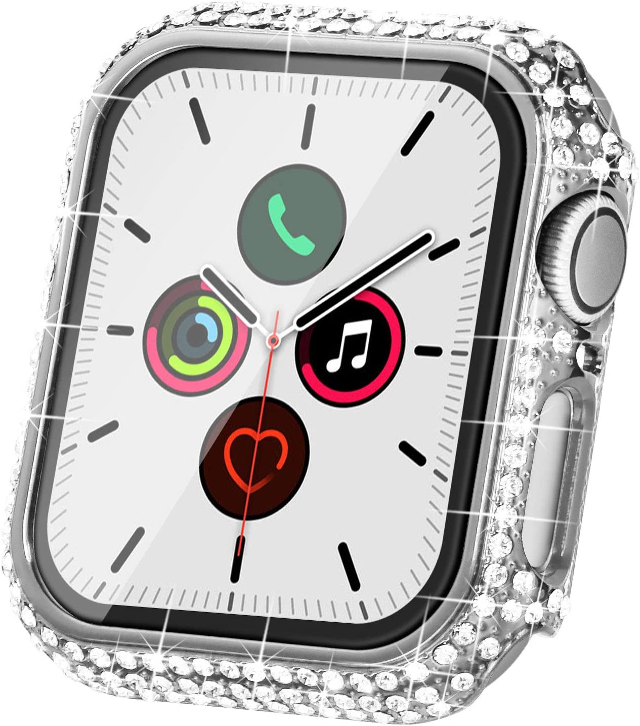 Fullife Compatible with Apple Watch Case, Bling Cases Replacement for Apple Watch 38mm 40mm 42mm 44mm Protective Bumper for Compatible with Apple Watch Series 5 4 3 2 1 (42mm-Silver)