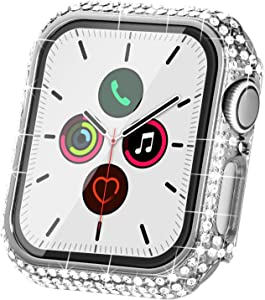 Fullife Compatible with Apple Watch Case, Bling Cases Replacement for Apple Watch 38mm 40mm 42mm 44mm Protective Bumper Compatible with Apple Watch Series 6 5 4 3 2 1 SE (40mm-Silver)