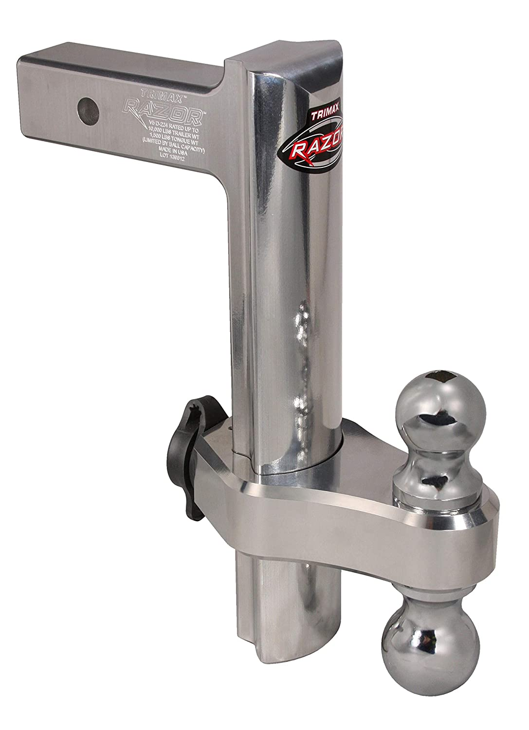 Trimax TRZ12AL 12 Premium Aluminum Adjustable Hitch with Dual Hitch Ball and T3 Receiver Lock