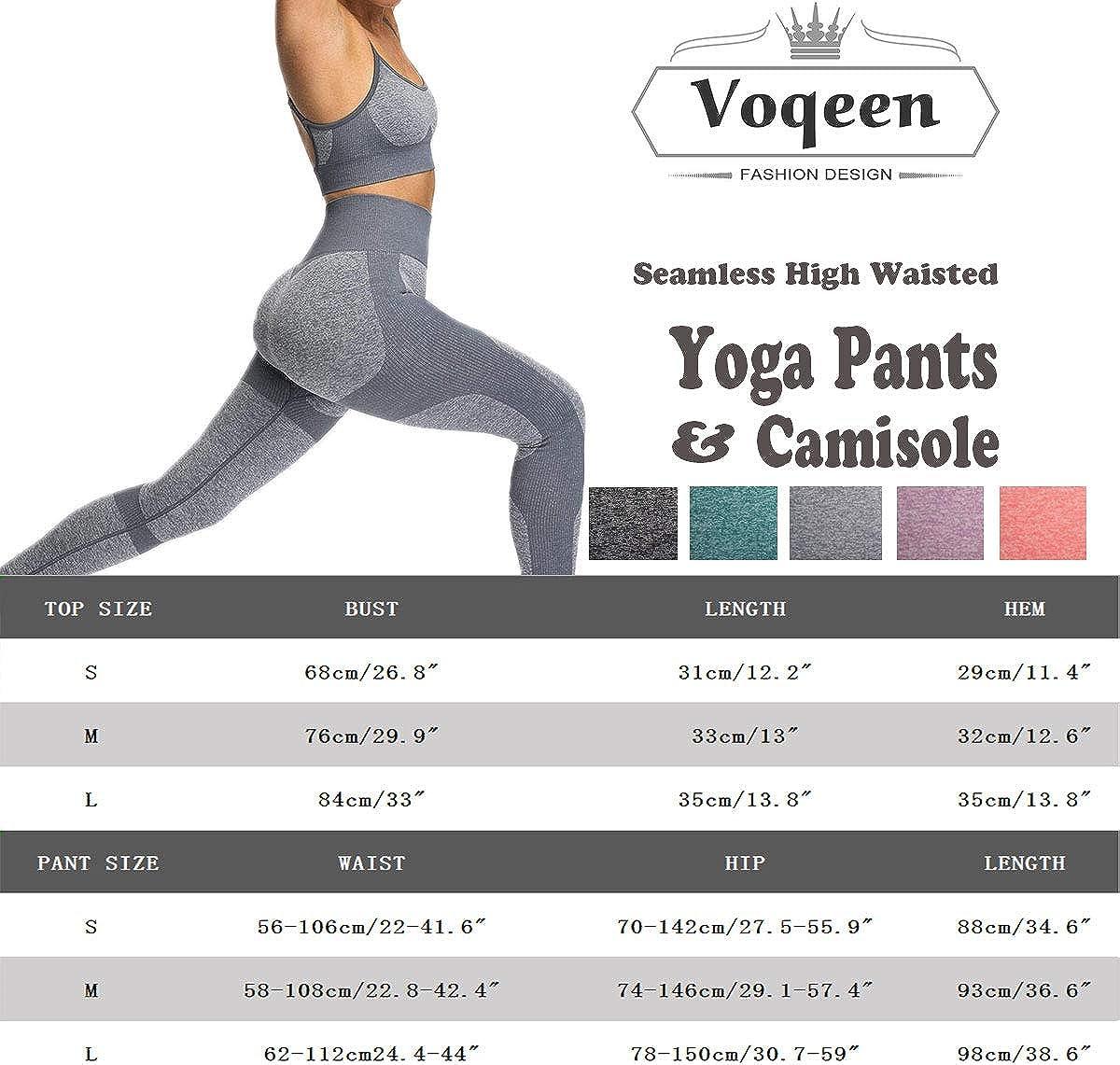 Voqeen Pantalones de Yoga para Mujer Pantalones Legging El/ásticos de Cintura Alta Pantalones Deportivos de Tres Puntos con Bolsillos