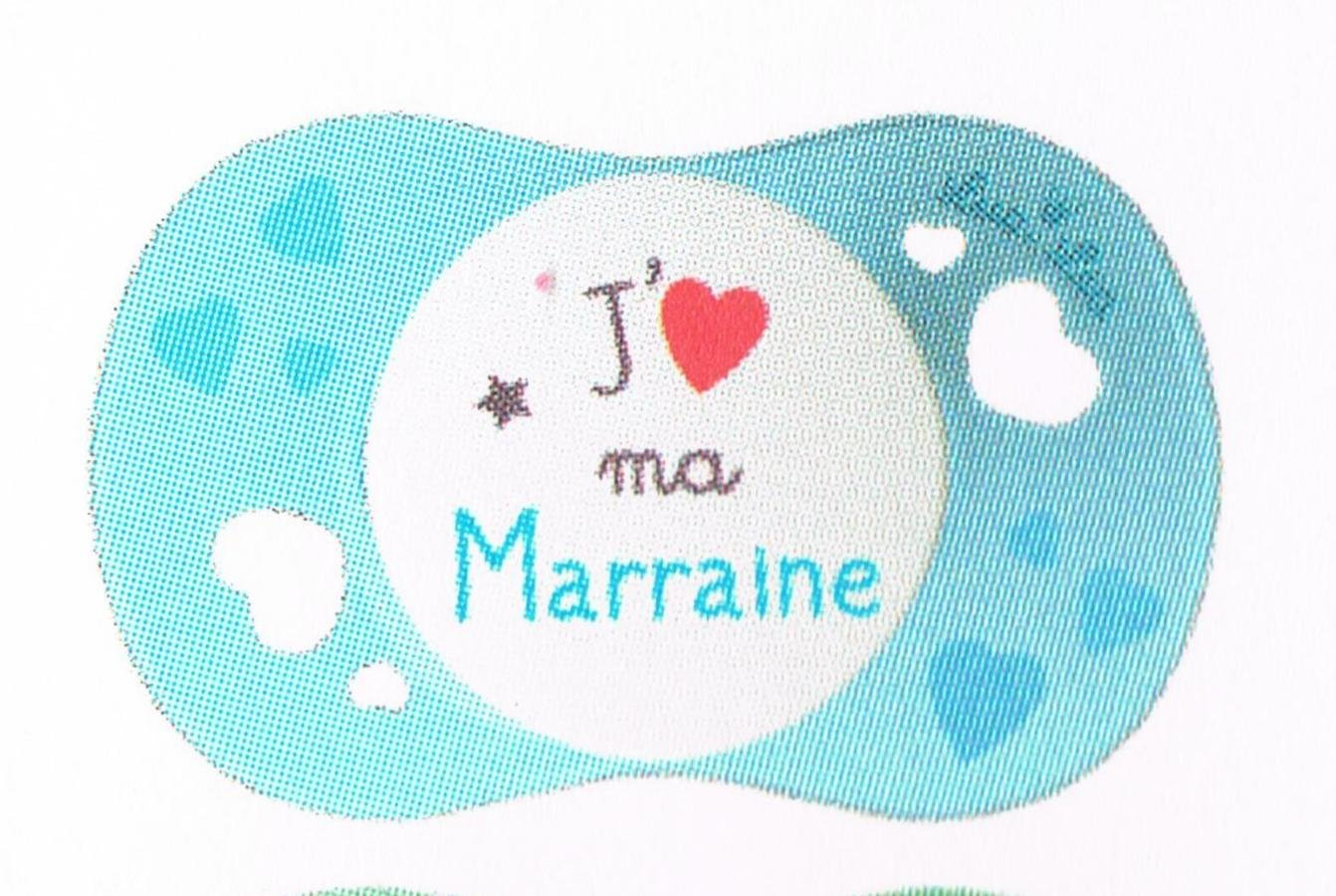 LUC ET LEA SUCETTE SYMETRIQUE SILICONE +6MOIS - J'aime ma MARRAINE (prix unitaire) GILBERT