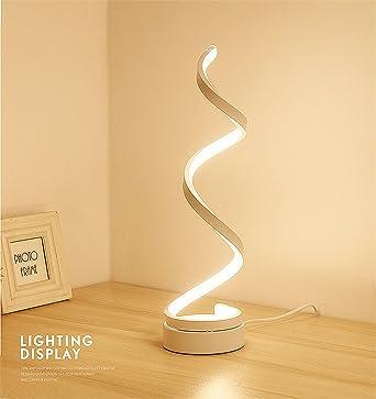 ELINKUME Spiral LED Tischleuchte Gebogene Lampe Modernes Minimalistischen Design 24W Warmweiss Licht