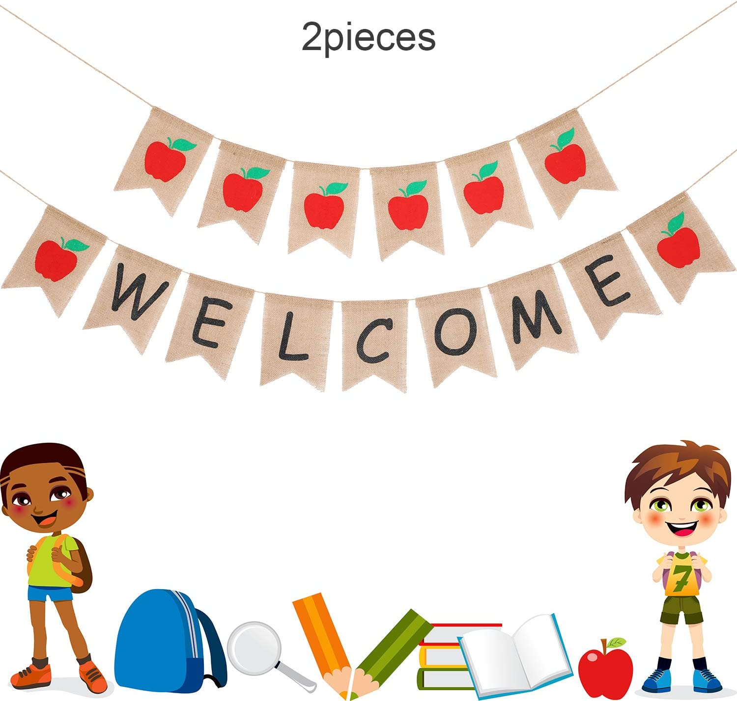 Amazon Com 2 Pieces Welcome Banner Apple Banner Burlap Apple Bunting Banners For Welcome To School Baby Shower Party Decoration Home Kitchen