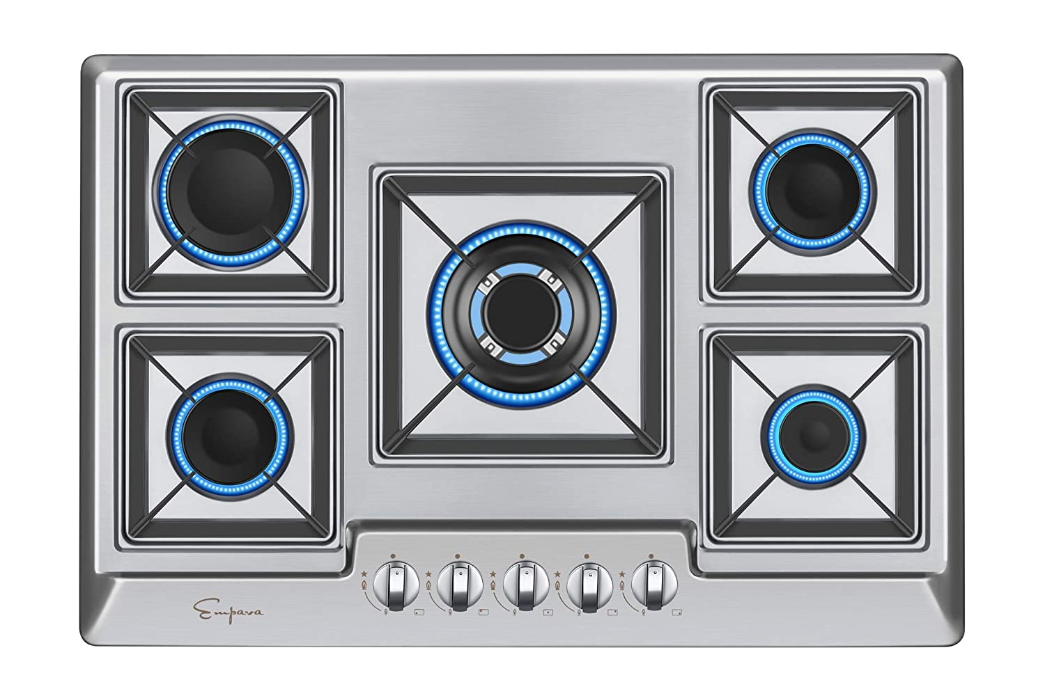 Empava 30XGC0A2 30 Inch Stainless Steel Gas Professional 5 Italy Sabaf Burners Stove Top Certified with Thermocouple Protection Cooktops, Silver