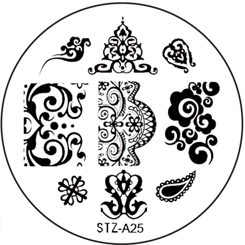 STAMPING-SCHABLONE # STZ-A25 Ornamente, Barock-Muster, Schnörkel ...