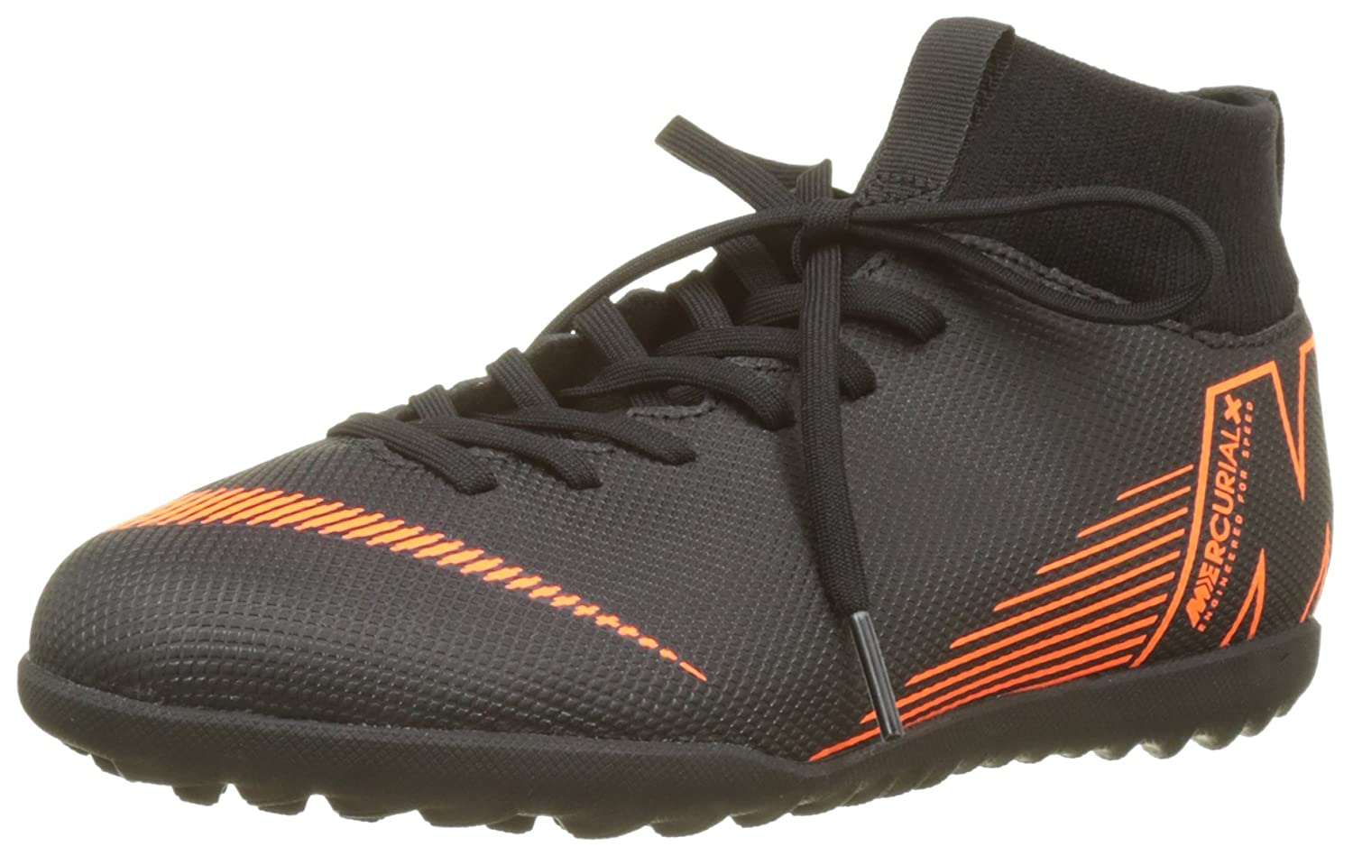 Nike Jr Superflyx 6 Club TF, Zapatillas de Deporte Unisex Adulto 38.5 EU|Multicolor (Black/Total Orange-w 081)