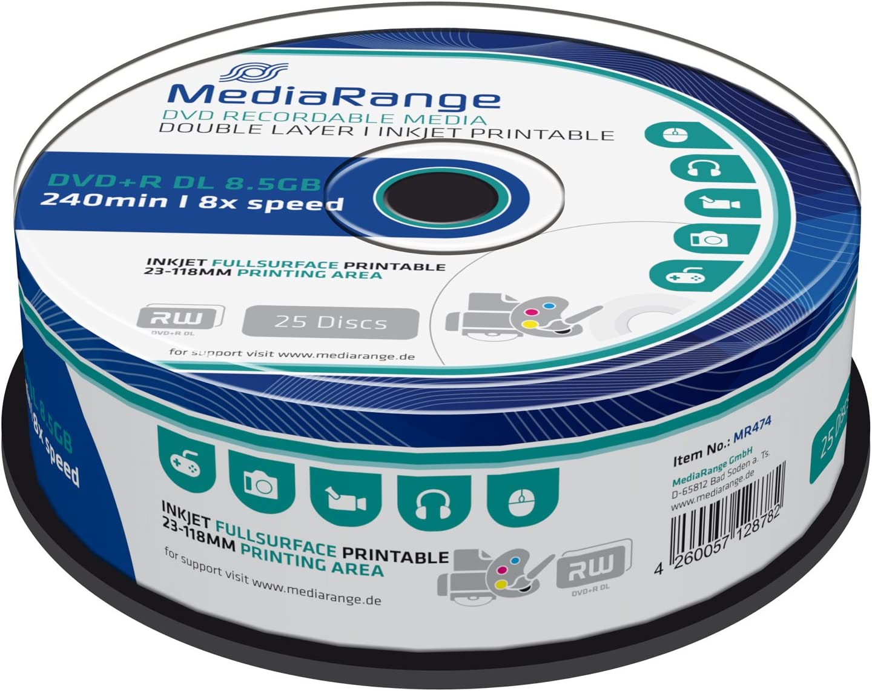 MediaRange MR474 - DVD+RW vírgenes de 8.5 GB (8X, 240 min, 25 ...