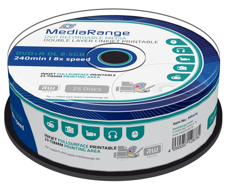 MEDIARANGE MR474 Cake Inkjet Fullsurface Printed Tab DVD + R Blank ...