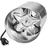 """iPower GLFANXBOOSTER4 4 Inch 100 CFM Booster Fan Inline Duct Vent Blower for HVAC Exhaust and Intake 5.5' Grounded Power Cord, 4"""", Grey"""