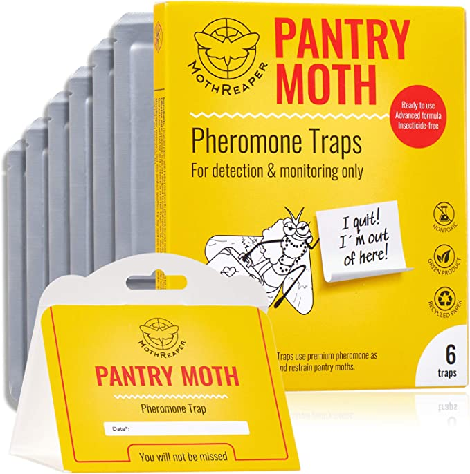 Amazon.com: Pantry Moth Traps 6 Pack with Premium Pheromone Lure Attractant for Grain Moths, Flour Moths, Non-Toxic Insecticide-Free, Sticky Glue Trap for Food and Cupboard Moths in Your Kitchen, Pack of 6: Home & Kitchen