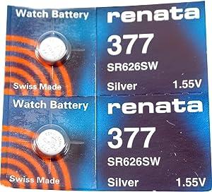 Renata Watch Battery 377 (Sr626Sw), Twin Pack