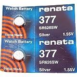 Renata Watch Battery 377 (Sr626Sw), 2 Batteries