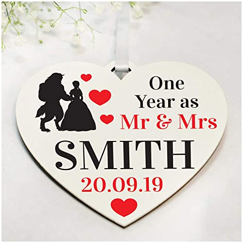 Princess Wedding Anniversary Gifts Personalised For Her Him Wife Husband Any Surname Any Date Printed Wooden Heart Gifts For 1st 2nd 10th 25th 30th 40th Wedding Anniversary Amazon Co Uk Handmade