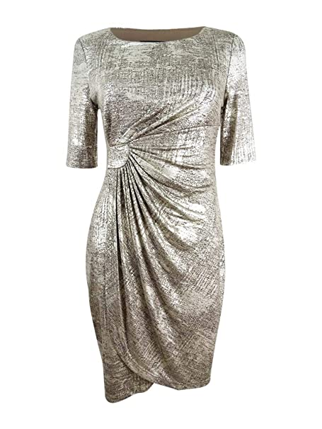 9aad72f5 Image Unavailable. Image not available for. Color: Connected Apparel Womens  Petites Metallic Elbow Sleeves Wrap Dress Silver 14P