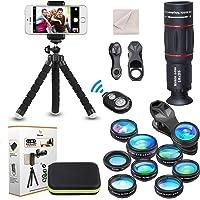 15 in 1 Universal Phone Camera Lens Kit 18X Telephoto Lens Wide Angle Lens,Macro Lens, Fisheye Lens,Kaleidoscope 3/6 Lens, CPL/Flow/Star/Radial Filter, Tripod, Remote Shutter for Most of Smartphone