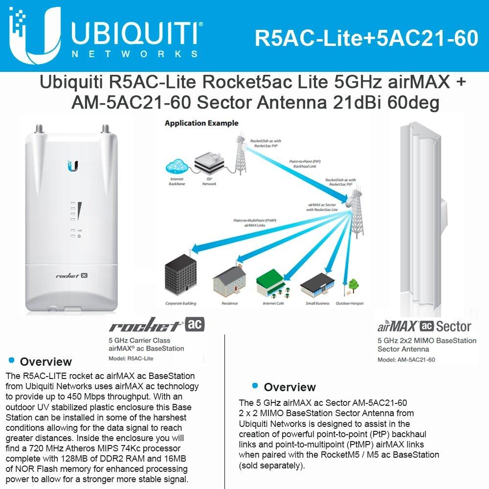 Ubiquiti R5AC-Lite 5GHz airMAX + AM-5AC21-60 5GHz 21dBi Sector Antenna 2x2 MIMO