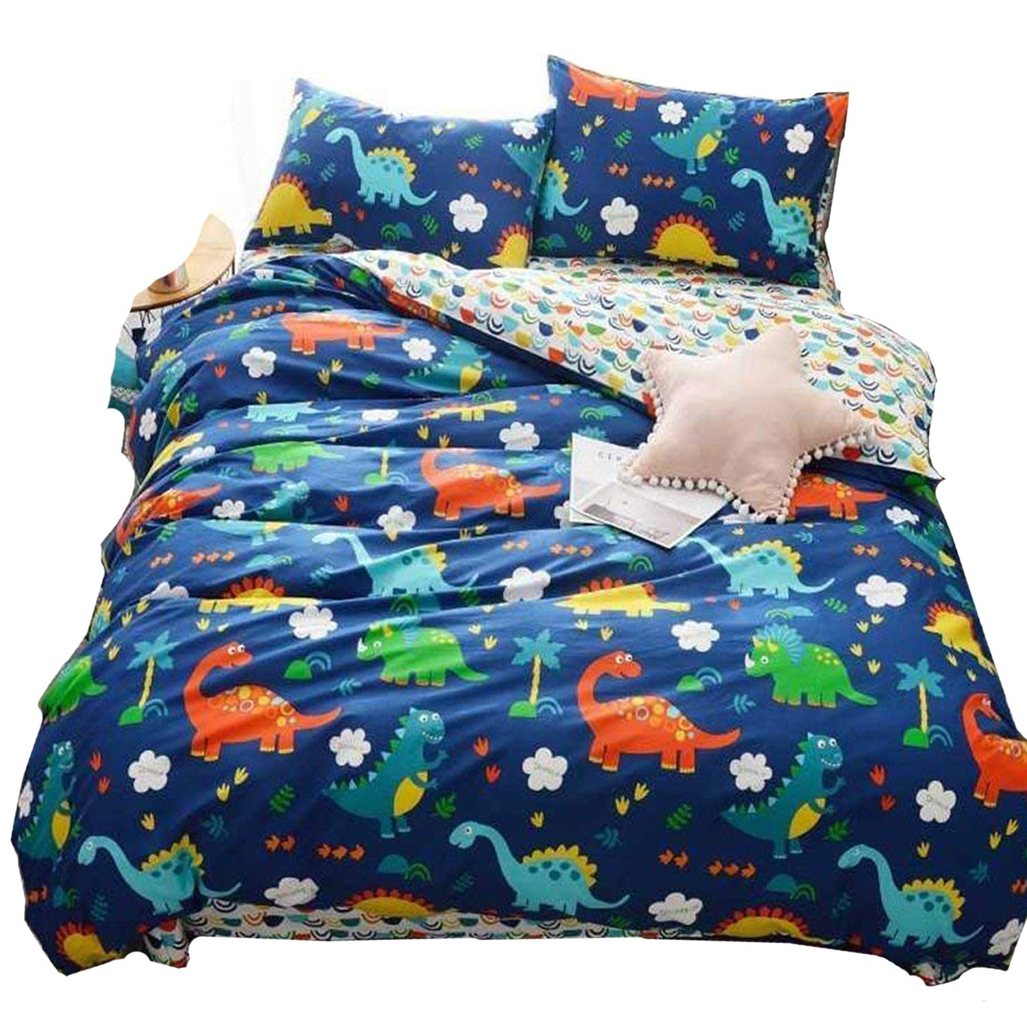 karever 100% Cotton Duvet Cover Set Pattern Soft Twin Size 3 Piece Cartoon Reversible Blue Bears Bedding Sets Queen Size with Zipper Closure Corner Ties for Teens Little Boys
