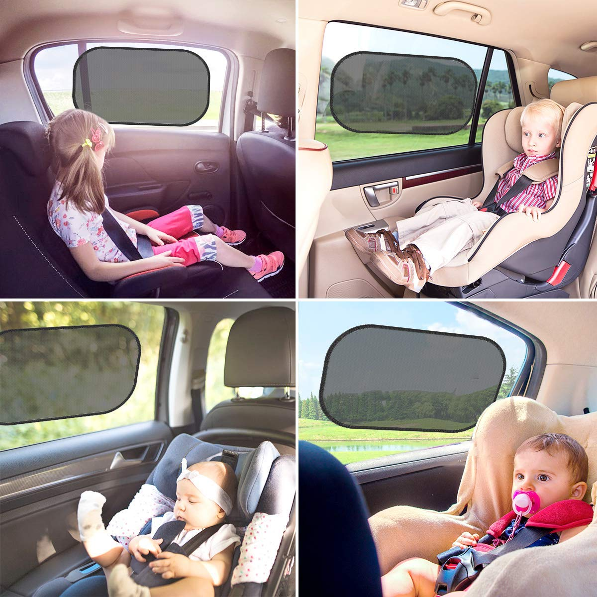 Car Sun Shades for Kids 3 Pack Car Window Blinds 51 x 31 cm Suitable for Most Vehicles Jhua Car Window Shades for Baby