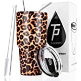 Toopify 30oz Stainless Steel Insulated Leopard Tumbler Travel Mug with Straw Slider Lid, Cleaning Brush, Double Wall Vacuum