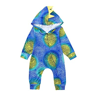 26719d5db782 Infant Romper Cute Baby Girls Boys Cartoon Dinosaur Shape Gradient Color  Long Sleeve Hooded Romper Outfits Clothes for0-24 Months  Amazon.co.uk   Clothing