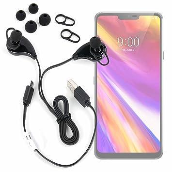 DURAGADGET Auriculares inalámbricos en Color Negro para Smartphone LG G7 ThinQ