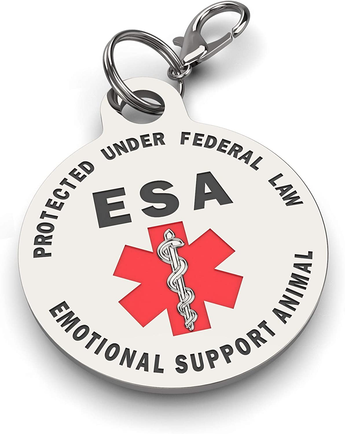 Double Sided Small Breed Emotional Support Animal ESA Tag Red Medical Alert Symbol and Protected by Federal Law .999 inch ID Tag Easily Switch Between Collars Harness and Vest.