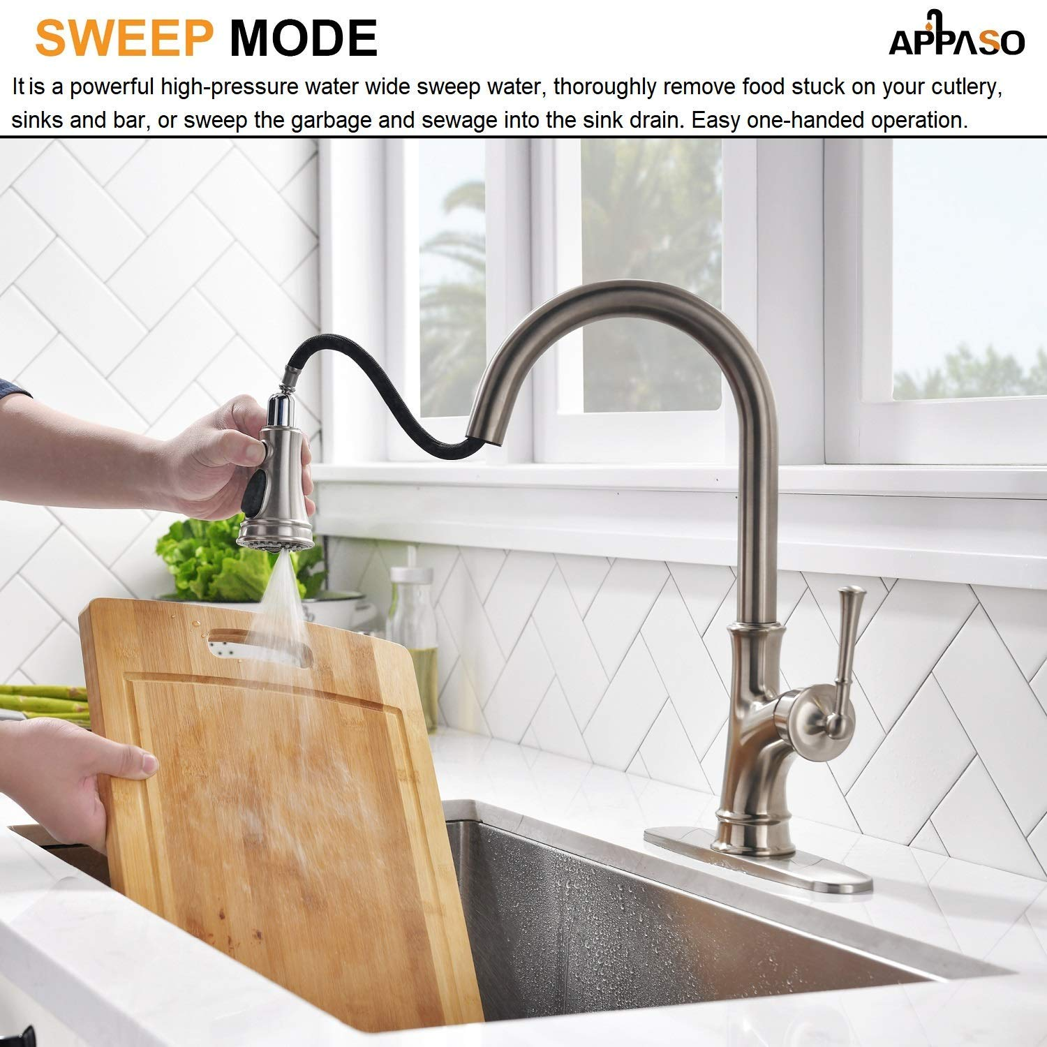 APPASO Pull Down Kitchen Faucet with Magnetic Docking Sprayer, Stainless Steel Brushed Nickel Single Handle Commercial High Arc Single Hole Pull Out Kitchen Sink Faucets with Deck Plate by APPASO (Image #5)