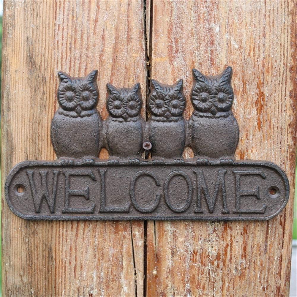 Bienvenido a casa para la pared puerta Sign Shop Placa personalizada Metal Rústico Señal de puerta de hierro fundido Estilo americano Pastoral Servicio pesado Bienvenida for con 4 búhos lindos Casa de