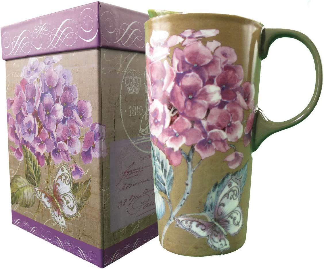 Ceramic Travel Mug Latte Tea Cup With Lid in Gift Box 17 oz. (Butterfly and Purple Flowers)