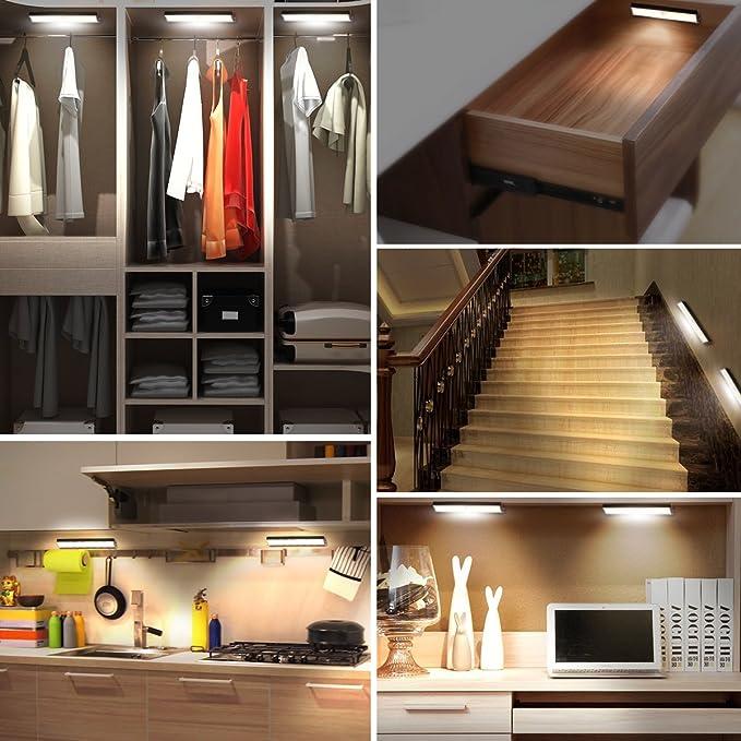 Cabinet Closet 10 LED de lámpara Bar, PIR de sensor de movimiento, aufstec kbarer magnético rayas, USB de batería, magnética adsorción desmontable, ...