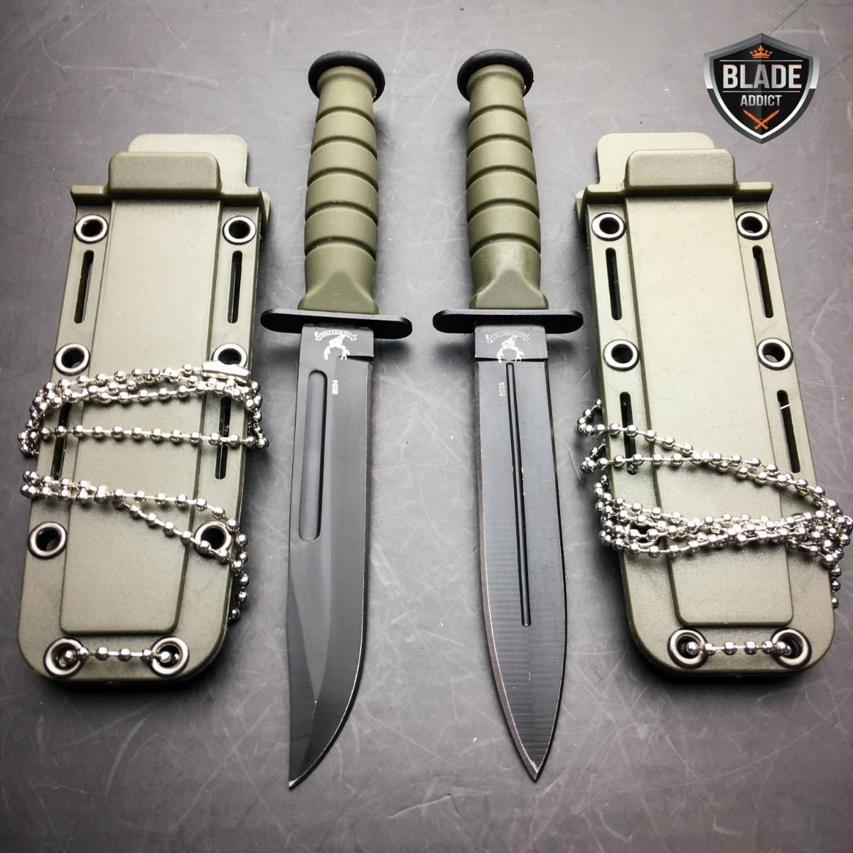 2 PC 6'' Kabai Tactical Combat Fixed Blade Neck Boot EcoGift Nice Knife with Sharp Blade w/ Chained Sheath NEW- Great For Fun And Practical Use