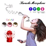HooYL Wireless Bluetooth Microphone Portable Karaoke Player Singing Record Compatible with Apple iPhone Android Smartphone PC iPad for Music Playing,Singing (Silver)