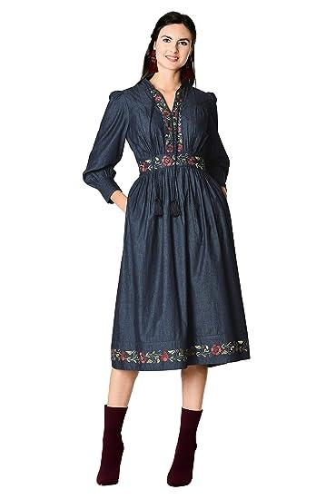 bca681e26a7 eShakti Women s Floral Embellished Cotton Chambray Dress at Amazon Women s  Clothing store
