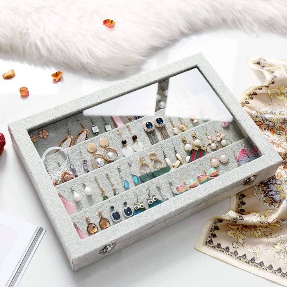 Earring-Pink organisateurs de Bijoux Bienser Bo/îte de Rangement en Velours avec Couvercle Transparent pour Boucles doreilles Colliers pendentifs