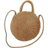 Zyurong donne spiaggia paglia intrecciata borsa da spiaggia estate Travel Sling borsa a tracolla Tan