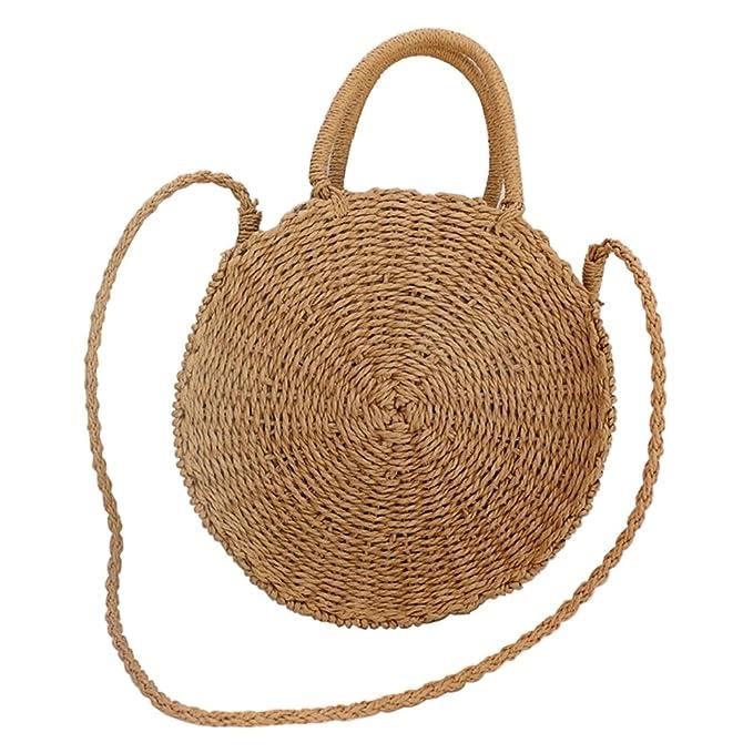 Amazon.com: Paja Bolsa de playa verano para mujer viaje ...