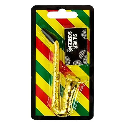 TAKEAHIT Metal Saxophone Smoking Pipe Set with Screens Tobacco Pipes