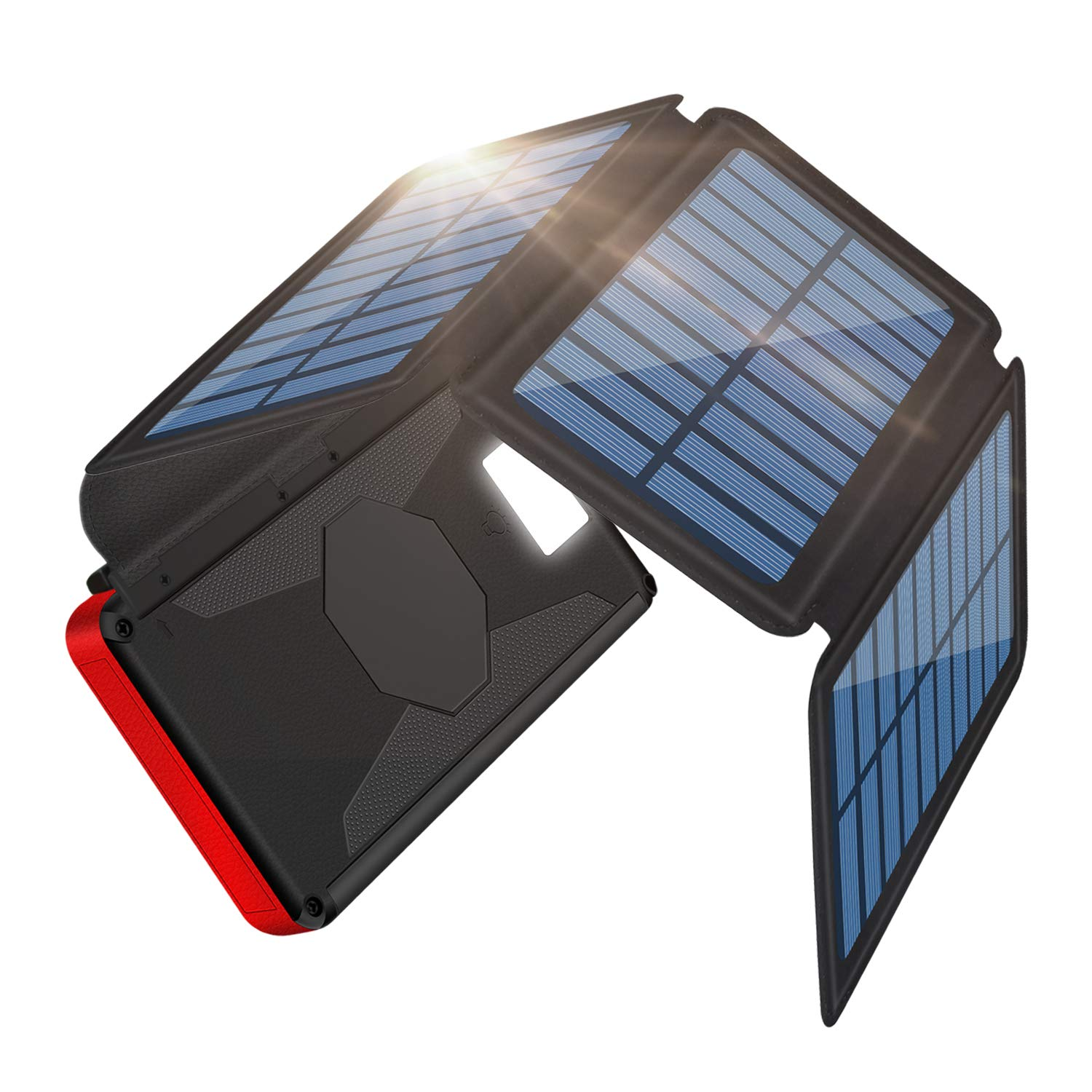 Portable Charger Solar Charger 26800mAh Solar Power Bank Detachable Solar Panel For Outdoor, 2 Inputs 2 USB Outputs, Water-Resistant Charger Pack with LED Flashlight Compatible Most Phones, Tablets by Be-charming