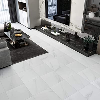 Buy Westick 20 Pcs White Marble Peel And Stick Floor Tile Bedroom Living Room Ground Decoration Vinyl Flooring Peel And Stick Non Slip Waterproof 12 X 12 Inches Online In Turkey B08r1cy1n9