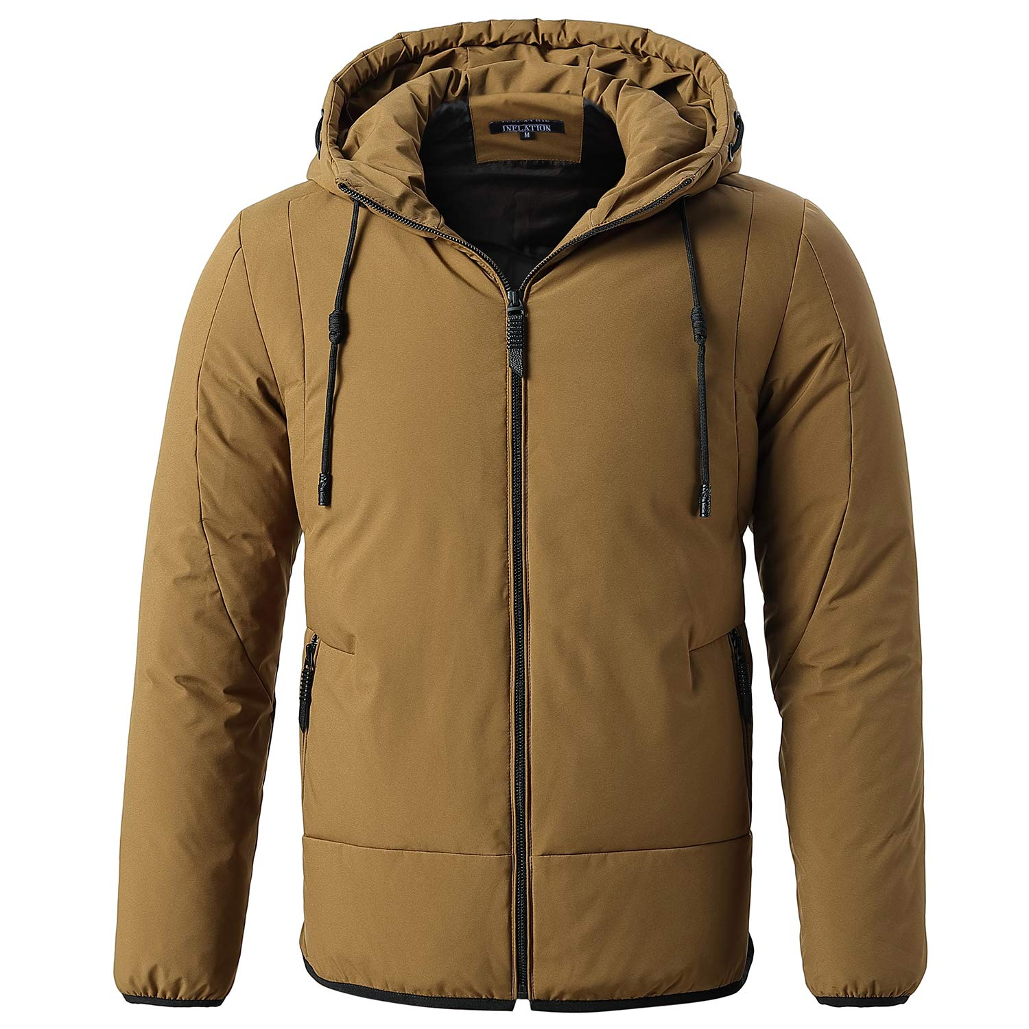 Mens Short Down Hooded Jacket Thickened Puffer Jacket Coats Quilted Padded Outwear with Hood Collar Winter Coats for Men for Outdoor Sport,Black//Camel//Grey//Navy Blue