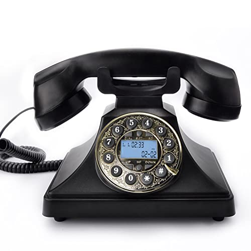Retro Telephone, Bnest Vintage Phone Classic Corded Phone Antique Style Push Button Dial Caller ID Display Desk Classic Telephone Home Living Room Decor Desktop Corded Phone-Black