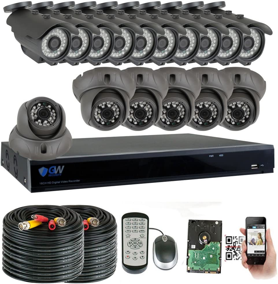 GW Security 16 Channel HD 2592TVL Outdoor Indoor 5MP 1920P CCTV H.265 Video Security Camera System with Pre-Installed 4TB HD, Motion Email Alert, Smartphone PC Easy Remote Access Black