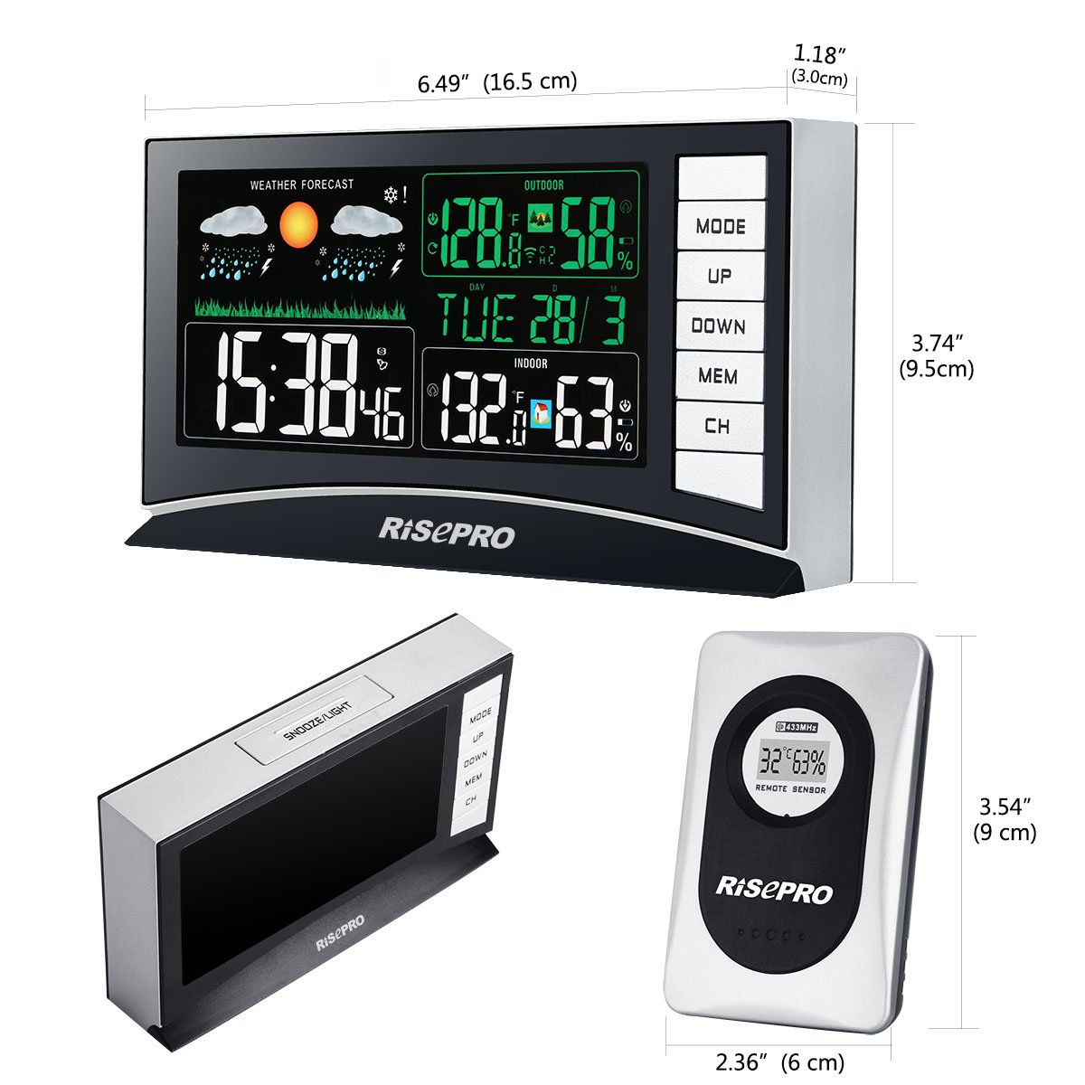 RISEPRO Weather Station, Wireless Weather Station with 3 Sensors in/Out Temperature and Humidity Alarm Clock Calendar Weather Forecaster with Color Led Display RP-WS2003 by RISEPRO (Image #3)