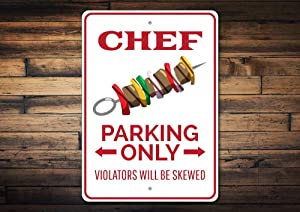 Promini Metal Sign for Wall Decor,Chef Parking Sign, Chef Gift, Chef Decor, Chef Sign, Kabob Sign, Chef Kitchen Sign, Chef Kitchen Gift, Food Sign Quality Aluminum Chef Signs 12x18 Inches